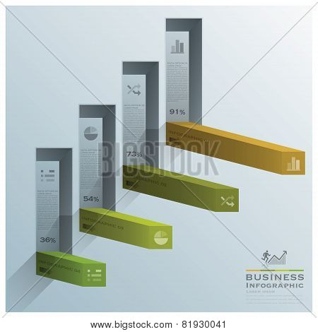 Modern Square Bar Diagram Stair Step Business Infographic