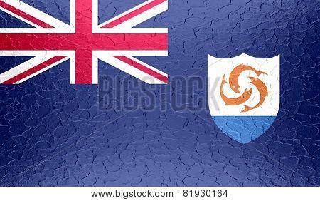 Anguilla flag on metallic metal texture