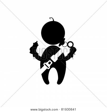 Baby With Seat Belt Vector
