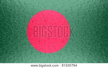 Bangladesh flag on metallic metal texture
