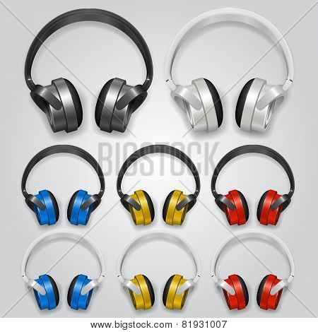 Headphones set color. Vector