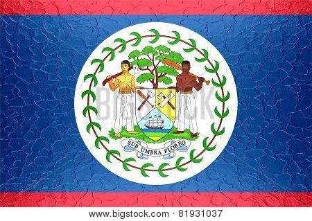 Belize flag on metallic metal texture