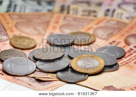 Indian Currency Rupee bank notes and coins