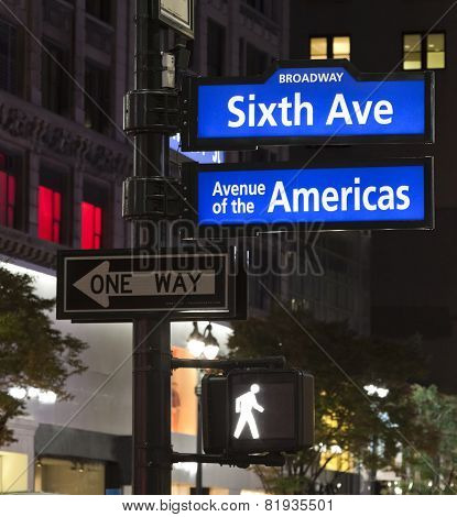 New York City, Corner Of The Broadway And West 33Th Street Sign