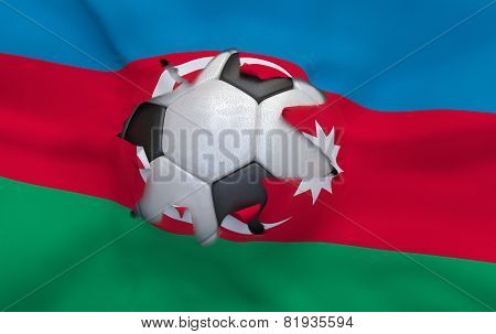 The Hole In The Flag Of Azerbaijan And Soccer Ball
