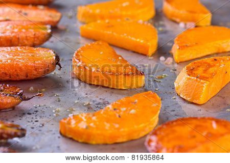 Pumpkin roasted in the oven