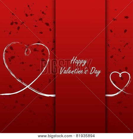 Valentines Card With White Hearts On Abstract Background