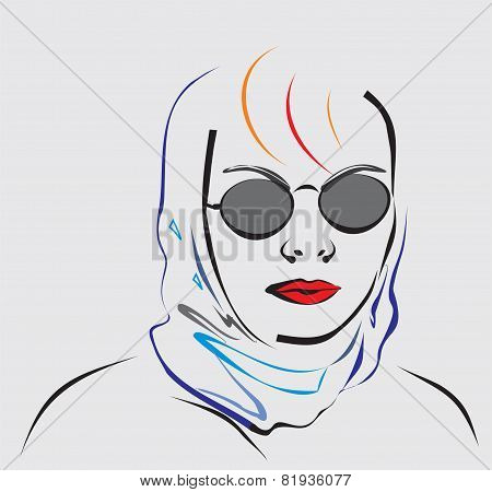 Woman with red lips wearing a kerchief and sunglasses.