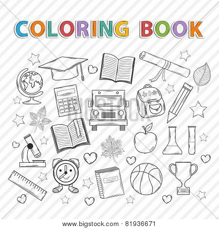 Vector coloring book.Education.