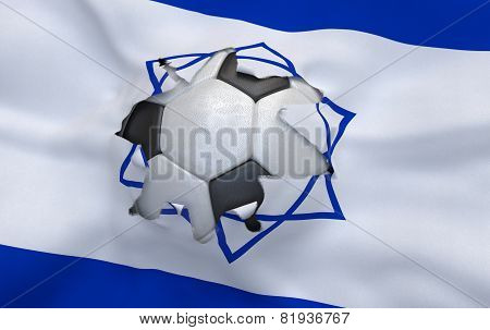 The Hole In The Flag Of Israel And Soccer Ball