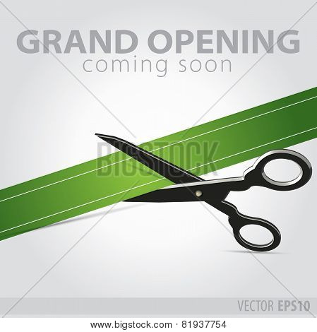 Shop Grand Opening - Cutting Green Ribbon