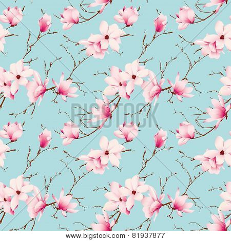 Spring magnolia mint seamless vector pattern
