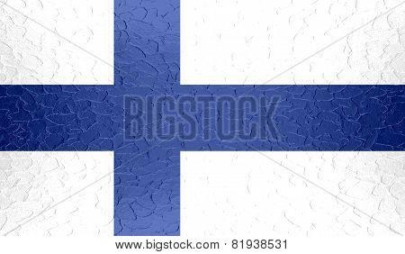 Finland flag on metallic metal texture