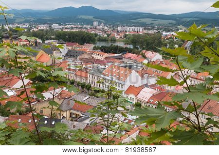 Top View Of The Rooftops And Streets Of The City Of Trencin In Slovakia