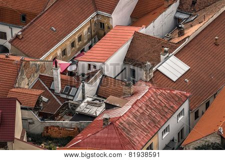 Red Tiled Roofs, Small Streets In The North Of The Slovakia, Trencin City