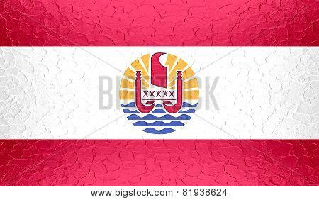 French Polynesia flag on metallic metal texture