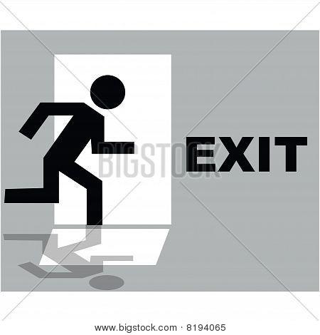 Grey Exit Sign Icon