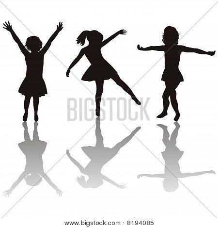 Three Little Girls Silhouettes
