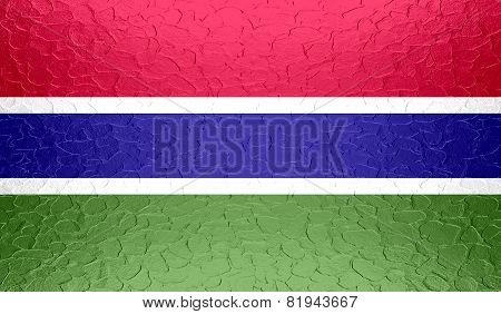 Gambia flag on metallic metal texture
