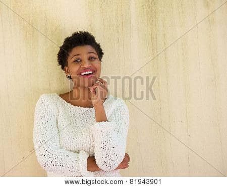 Young African American Woman Thinking With Hand On Chin