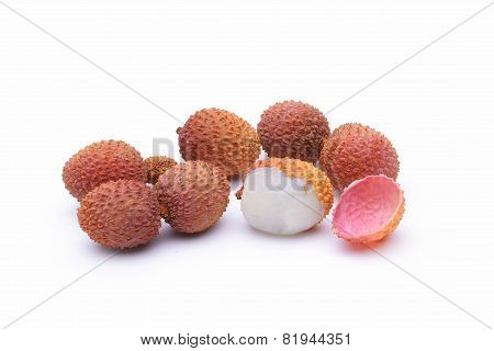 Lychee. Fresh Lychees  On White Background