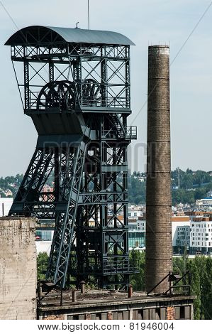 Old coal mine shaft with  mining tower