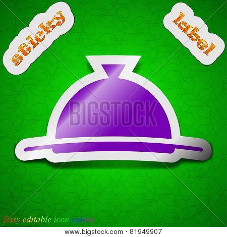 Food Platter Serving Icon Sign. Symbol Chic Colored Sticky Label On Green Background. Vector