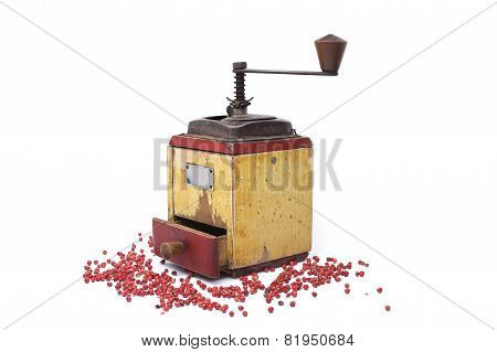 Red Pepper With Old Pepper Mill