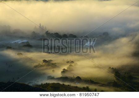 Mountain Landscape With Summer Morning Fog At Sunrise