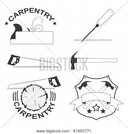 set of carpentry tools and logos