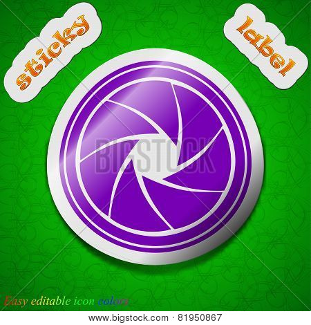 Diaphragm Icon Sign. Symbol Chic Colored Sticky Label On Green Background. Vector