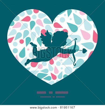 Vector abstract colorful drops shooting cupid silhouette frame pattern invitation greeting card temp