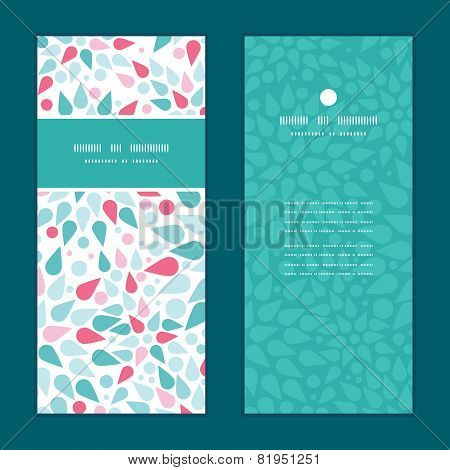 Vector abstract colorful drops vertical frame pattern invitation greeting cards set