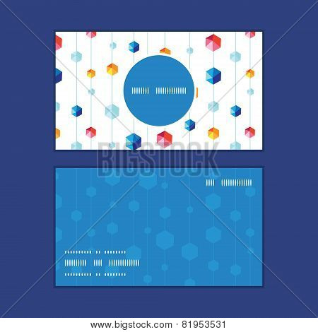 Vector abstract hanging jewels striped vertical round frame pattern business cards set