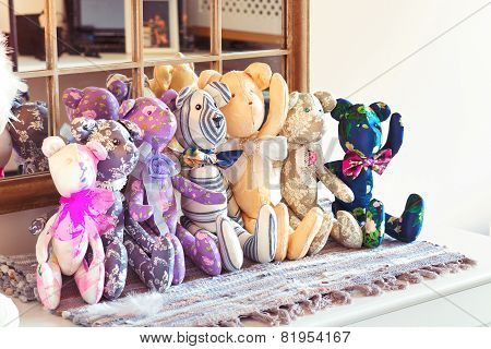 Many Textile Tilda Teddy Bear Toys In Workshop.