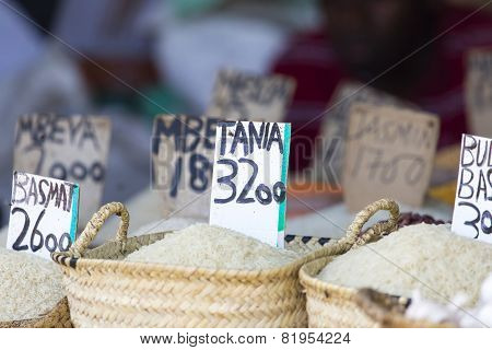 Traditional food market in Zanzibar in Africa.