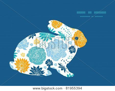 Vector blue and yellow flowersilhouettes bunny rabbit silhouette Easter frame