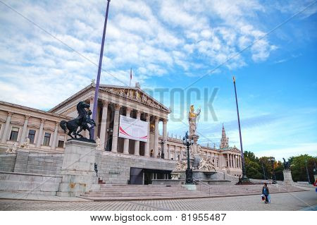 Austrian Parliament Building (hohes Haus) In Vienna Early In The Morning