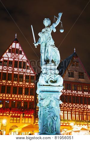 Lady Justice Sculpture In Frankfurt, Germany