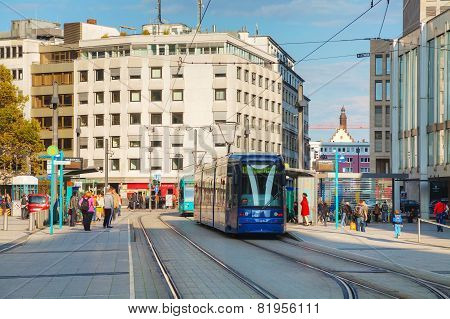 Frankfurt Am Main Street With A Tram