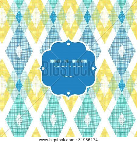 Vector colorful fabric ikat diamond frame seamless pattern background