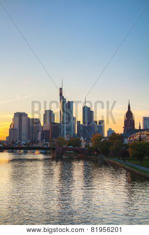 Frankfurt Am Main Cityscape At Sunset