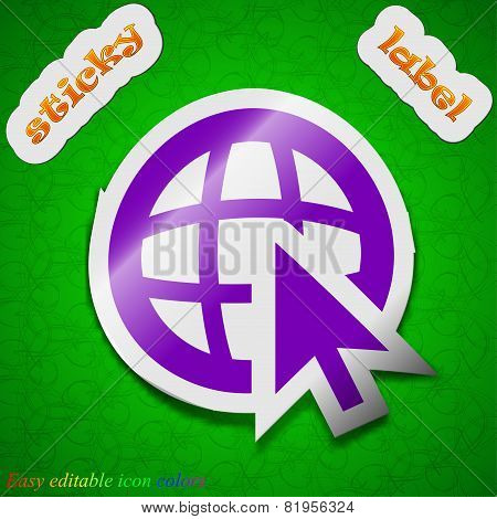 World Wide Web Icon Sign. Symbol Chic Colored Sticky Label On Green Background. Vector