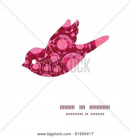 Vector ruby bird silhouette pattern frame