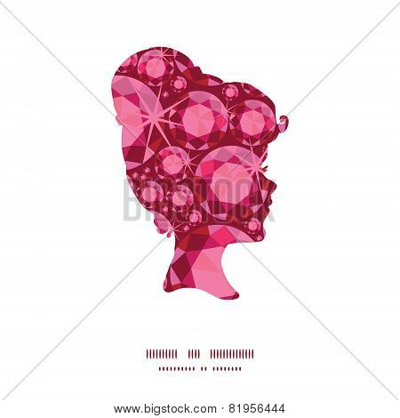 Vector ruby girl portrait silhouette pattern frame