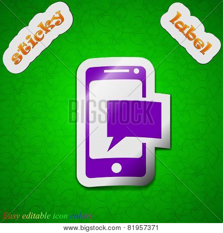 Message Sms Icon Sign. Symbol Chic Colored Sticky Label On Green Background. Vector