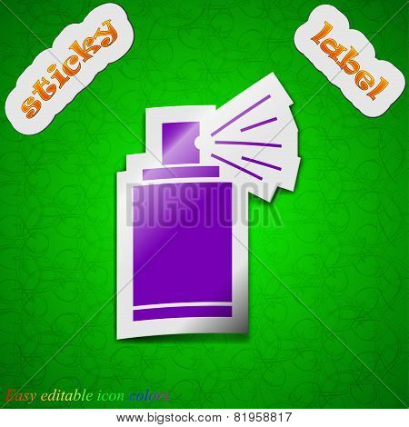 Aerosol Paint Icon Sign. Symbol Chic Colored Sticky Label On Green Background. Vector