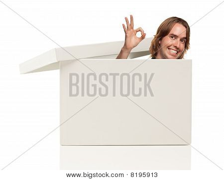 Mans Head And Okay Sign Pops From Blank White Box