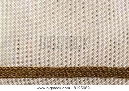 Jute Ribbon On Sack Cloth Background