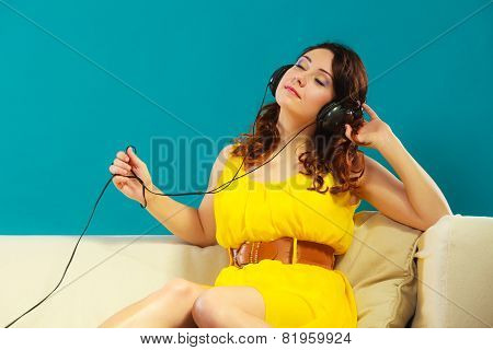 Girl With Headphones Listening Music Mp3